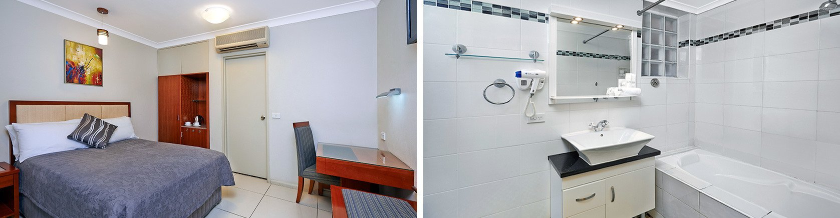 Two images showing single hotel room bedroom with large bed and bathroom with bath